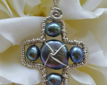 Wire wrapped Sterling one-of-a-kind Small Peacock Coin Pearl Cross Pendant
