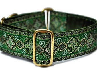 Martingale Dog Collar or Buckle Dog Collar - Custom Dog Collar - Wide Martingale Collar -  Nobility Jacquard in Green - 1.5 Inch