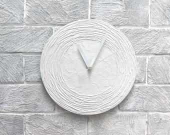 WHITE Clock Modern WALL CLOCK, White Home Decor, White wall clock, White wall decor, minimalist office decor wedding gift
