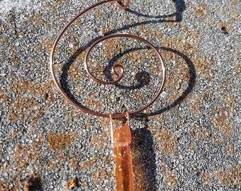 Orange Aura Quartz Crystal Dangle Pendant Wrapped in Coiled Copper Wire