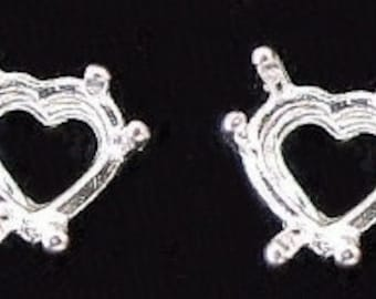 sterling silver pair 9mm heart earring mounting