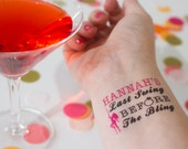 Pole Dancing Party Temporary Tattoos,  Bachelorette Party, Last Fling before the Bling, Custom Tattoo, Personalized Tattoo, Stripper Party