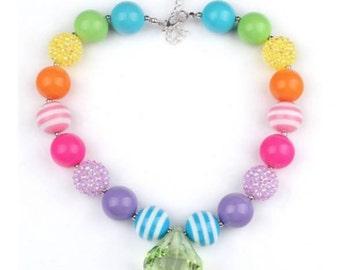 Little DIVA Pastel Rainbow Bubble Gum Necklace