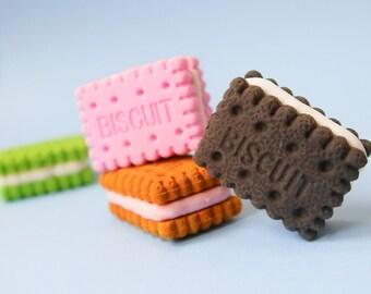Biscuit Eraser Set - 4 Cookie Erasers - Super Cute Bullet Journal supplies - Kawaii Snack Food Rubbers - Novelty Biscuits Rubber - Bujo