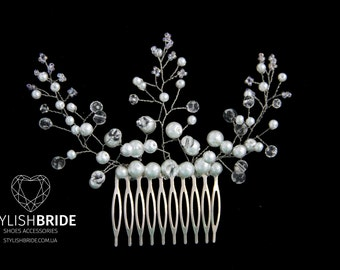 Pearl Hair Comb, Hair Comb, Wedding Pearl Hair Comb, Hair Pearl Accessories, Crystal Pearl  Comb, Bridal Pearl  Hairpiece