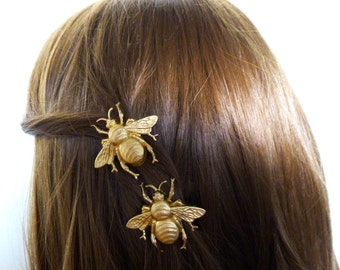 Bridal Hair Clips Bridesmaid Barrette Bride Gold Bumblebee Bumble Bee Nature Rustic Woodland Wedding Accessories Wife Womens Gift For Her