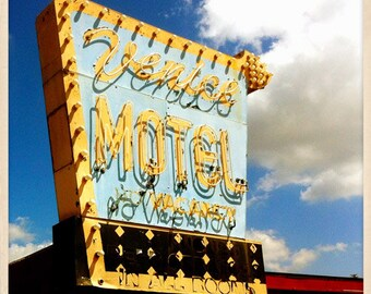 "Venice Motel Sign St. Petersburg, Florida Photo Print - 8"" x 8"""