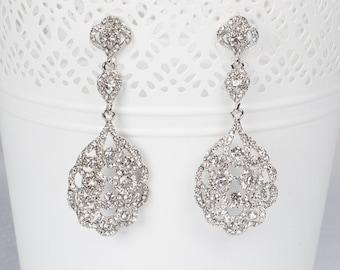 Chandelier Vintage Crystal Bridal Earrings Long Victorian Style Earrings Wedding Jewelry drop wedding Earrings