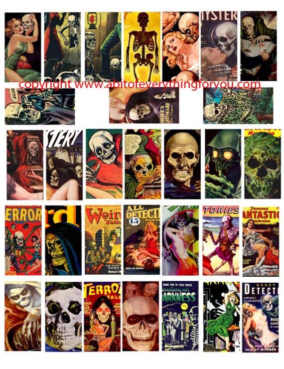 "vintage skull skeletons comic book art clipart  digital download domino collage sheet 1"" x 2"" inch graphics images printables"