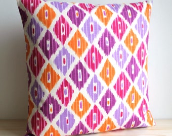 Orange and Pink Ikat Pillow Cover, 16x16, 18x18, Ikat Cushion Cover - Ikat Diamonds Tangerine