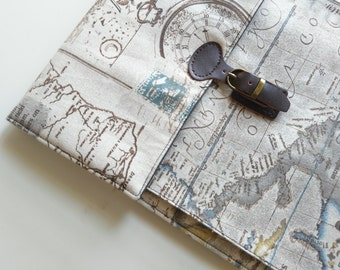 Laptop Case, for 11 inch Macbook air, Surface pro and more. Natural Linen/Padded/Map.