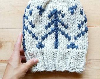 Alpine Hat   Fair isle Knit hat   Chunky yarn adult winter hat   warm wool Toque   Modern knit design   handmade knit beanie