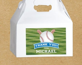Baseball Birthday Favor Boxes, Baseball Party Favor Stickers, Personalized Baseball Party Favors, Baseball Stickers, Custom Party Favors