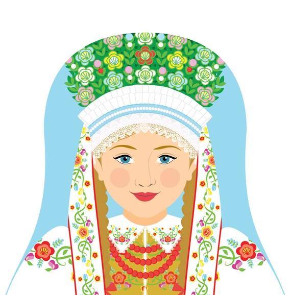 Łowicz Polish Doll Art Print with traditional dress, matryoshka