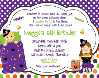 Halloween party invitation --   halloween slumber party birthday invitation -- You print or I print - any hair color