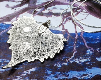 Real Cottonwood Leaf Necklace Pendant, Sterling Silver Dipped leaf, Neckchain, Natures Leaves Jewelry