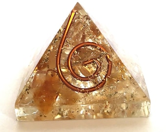 Natural Citrine Crystal Orgone Pyramid
