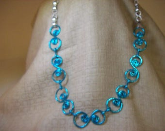 Bright Aqua Circus Circles with Silver Wire Necklace and Earrings Set