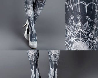 Tattoo Tights, Marine Life Tights white Closed Toe one size full length printed tights, pantyhose, nylons, tattoo socks