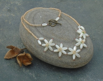 Wood Anemone Necklace with Five Flowers, Polished Shell and Seed Bead Necklace with natural shell bead petals, UK seller