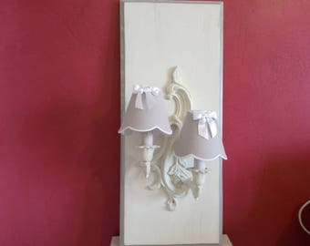 APPLIQUE frame wall light shabby weathered antique white - 2 pieces