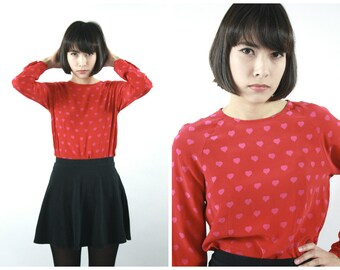 90s Hearts Print Silk Blouse / Vintage Valentine's Day Red and Pink Novelty Print Top / Size S Small