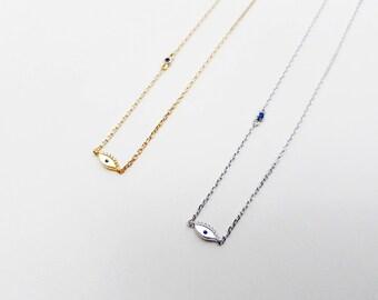 tiny evil eye charm necklace, eye choker, sterling silver jewelry, minimal necklace