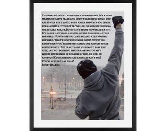 Rocky, Rocky Balboa , Life quote, Canvas Art, Rocky, Boxing, Life quote, Art prints, wall art, rocky boxing speech, Inspirational quotes