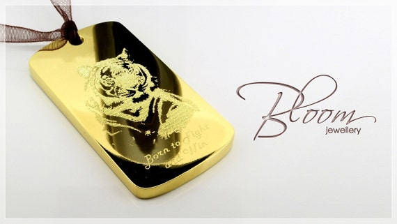 Gold dog tag pendant 24k solid gold this is demonstration aloadofball Image collections