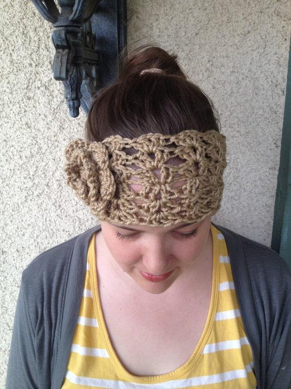 Items Similar To Crochet Pattern Melanie Headwarmer Lace And Flower