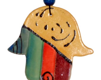 Hamsa/Protection Against Evil Eye/Hand/Clay/Wall Hanging/Ceramic/Pottery - By Leslie Farin