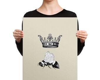 Queen Bee Canvas Wrap -  saucy gift for her, crown, bee, beige