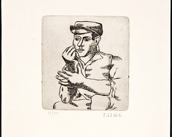 FERNAND LEGER - 'L'ouvrier accoude' - hand signed & numbered original etching - c1950s (edition of 90. Matisse Int)