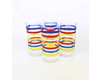 Vintage Colorful Striped Tumblers / Set of 4
