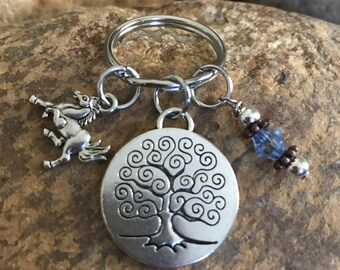 Horse keychain with tree of life charm and baby blue crystal - graduation and or Mother's Day gifts