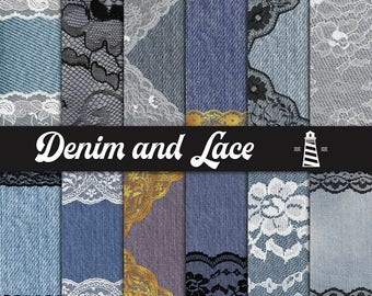 Jeans And Lace Digital Paper, Denim Backgrounds With Lace Borders, Deco Scrapbook Papers, Wedding Invitations, Card Making, BUY7FOR10
