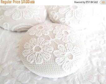 CLEARANCE - 3 floral lace buttons, white with beige underlay,  1 7/8 inches, 1.9 inches, 4.7 cm, 48.26 mm, size 75 buttons