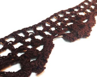 Crochet Lace Edging - Vintage Style Crocheted Trim - Brown Crochet Lace Trim - Vintage Style Trim - Cotton Bobbin Lace Trim - 1 Yard