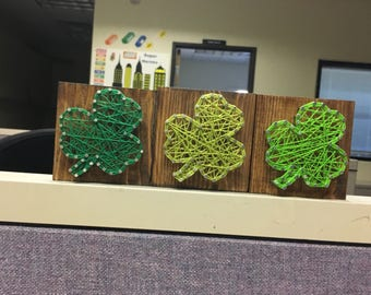 St patricks string art- Clover String art set- st patricks office decor-Shamrocks-shamrock string art -spring string art-spring deco