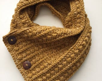 Crochet Cowl with Buttons, Crochet Cowl Scarf, Crochet Scarf, Scarf with Buttons, Crochet Infinity Scarf, Infinity Scarf, Winter Cowl Scarf