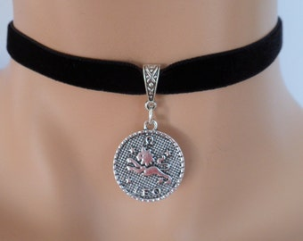 velvet choker, leo choker, leo necklace, stretch ribbon, black velvet, zodiac