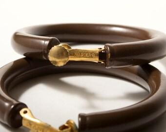 Vintage Brown Napier Hoop Earrings