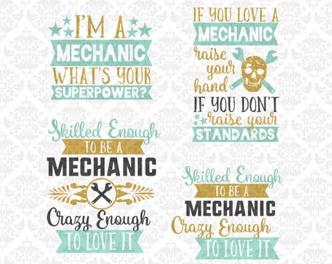Mechanic Superpower Love Wife wrench SVG DXF STUDIO Ai Eps Scalable Vector Instant Download Commercial Use Cutting File Cricut Silhouette