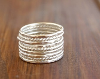 GET 1 FREE WITH Nine Stacking silver rings / hammered and twisted wire stacking rings in shiny silver/ silver skinny stacking rings Handmade