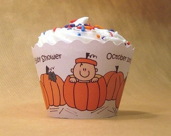 lil pumpkin cupcake wrappers decorations custom personalized for autumn baby shower or first birthday party  - set of 12