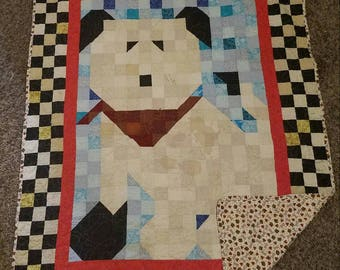 Puppy crib quilt 38in x 48in  hand made