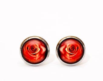 Rose Earrings, Red Rose jewellery, Flower Earrings, Rose Studs, Rose Earrings, Bridesmaid Earrings, Valentines Day Minimal Earrings Romantic