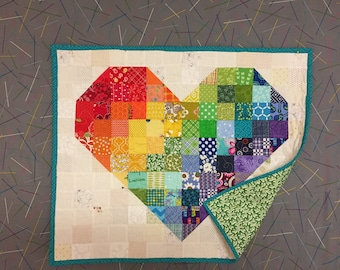 quilted, patchwork, pieced, cotton,wall hanging, heart