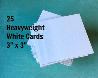 """3"""" White Chipboard Squares (25) ... 3x3 Heavyweight Cards Blank Cards DIY Mini Banner Art Supplies Craft Supply Thick Cardstock Paper Goods"""