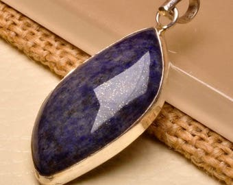 "Lapis Lazuli sterling silver  1-5/8"" pendant  (#J1618)"
